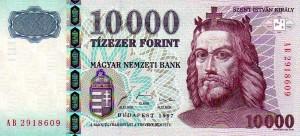 Biljet van HUF 10000 uit 1999; waarschijnlijk uit roulatie eind 2019