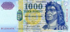 Uitlopend Biljet van HUF 1000 uit 1998; nog geldig tot 31/10/2018