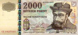 Niet langer geldig biljet van HUF 2000 uit 1998