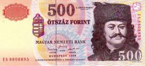 Biljet van HUF 500 uit 1998; waarschijnlijk uit roulatie eind 2019